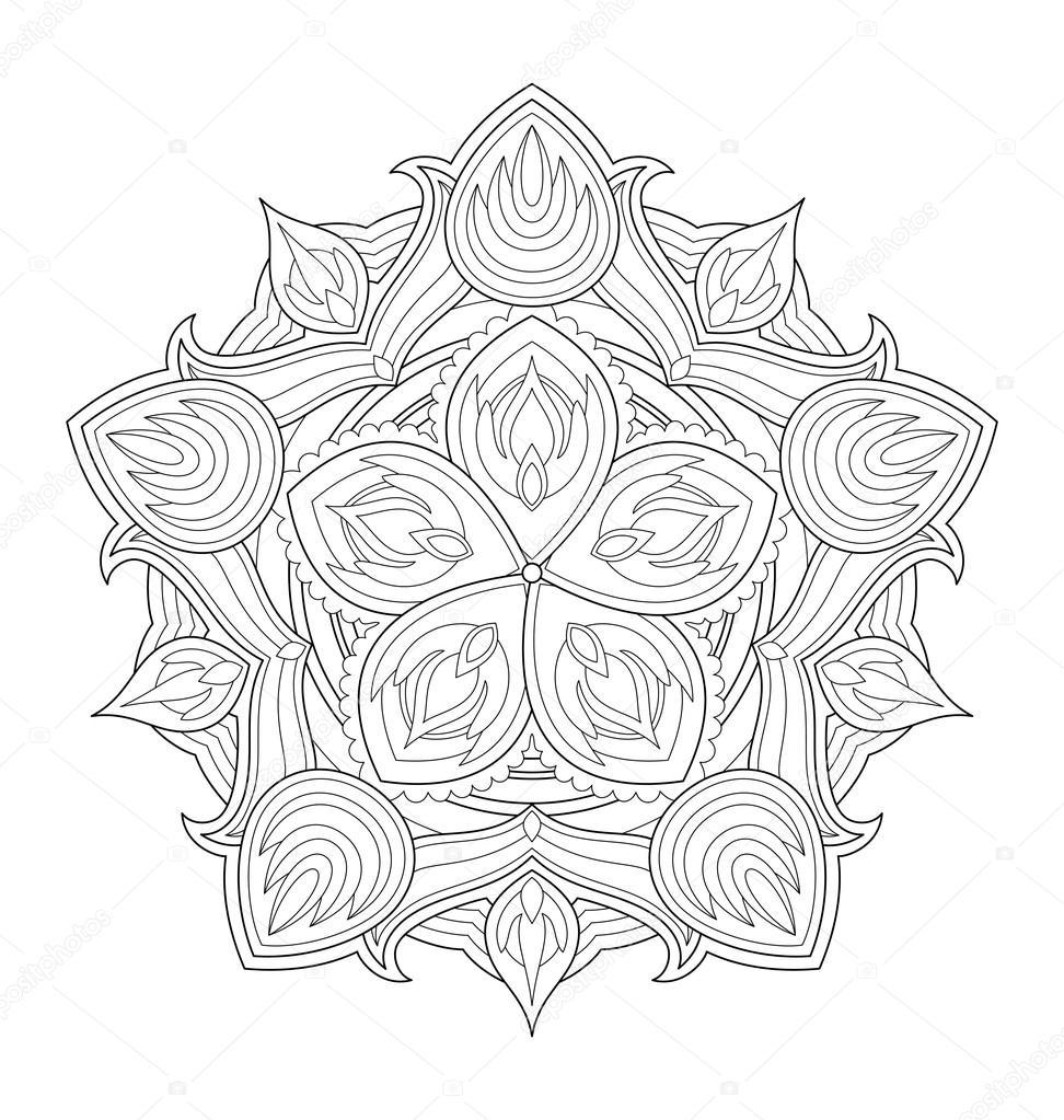Illustrazione Di Mandala Per Adulti Da Colorare Vettoriali Stock
