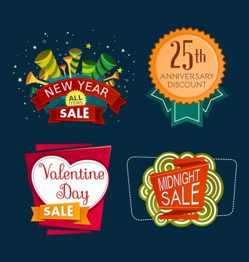 Various colorful banner and tittle template for sale event clip art vector