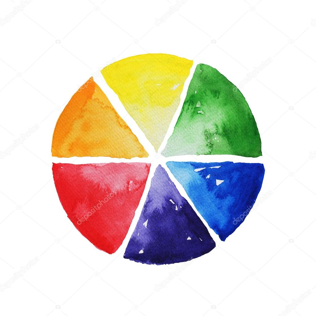 Watercolor Color Wheel Colorful Template For Design Stock Photo