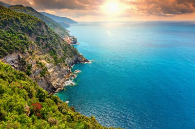 Stunning sunrise and steep coastline,Cinque Terre,Liguria,Italy,Europe