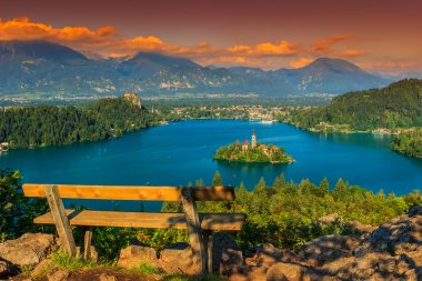 Resting place and Bled Lake panorama,Slovenia,Europe