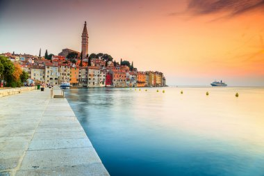Stunning sunset with Rovinj old town,Istria region,Croatia,Europe