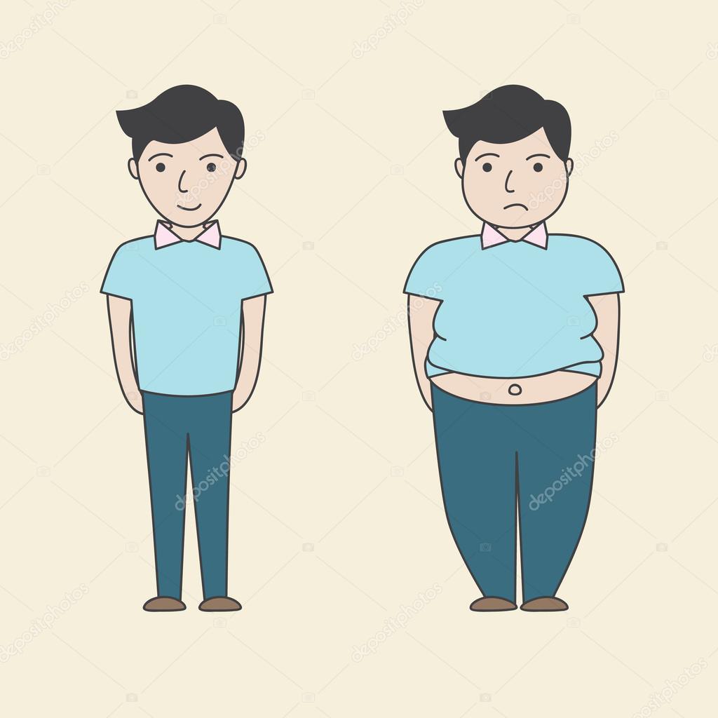 Dibujos Dibujo Gordo Y Flaco Vector De Dibujos Animados