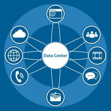 Big Data icon set, Data center and Centralized
