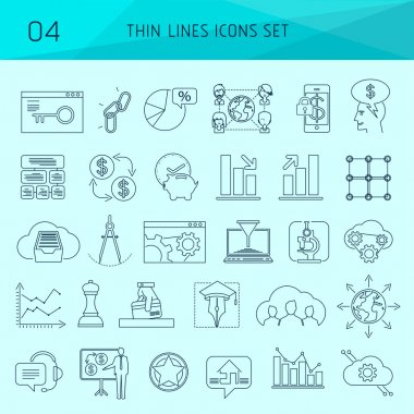 Set of thin line web icons