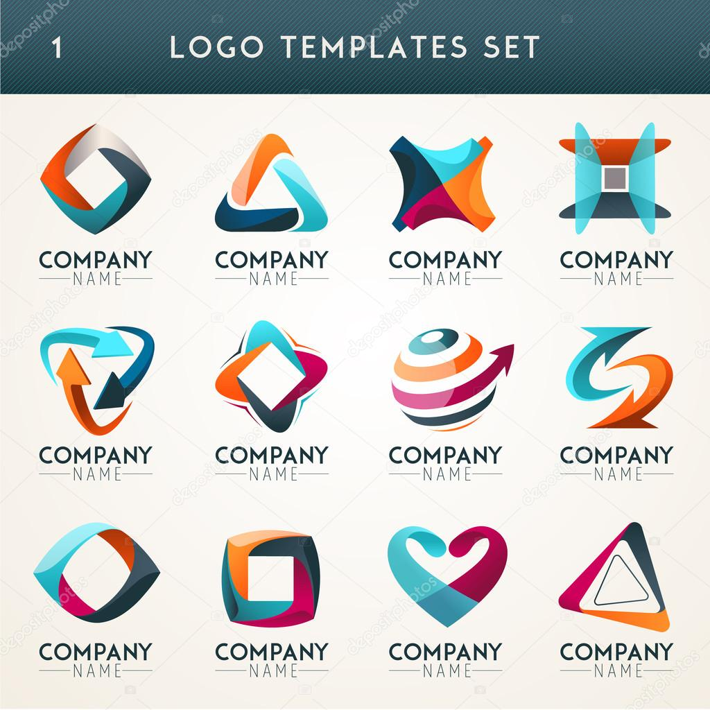 abstract logos web icons symbols � stock vector
