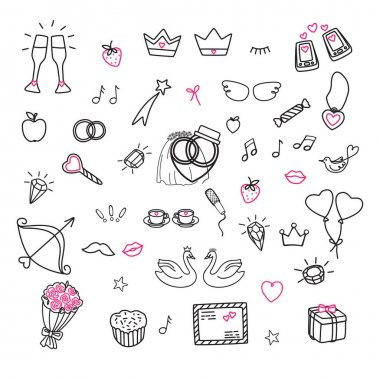 Set of wedding signs symbols. Cartoon linear icons in doodle style isolated on white background.
