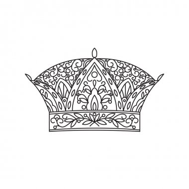Crown. Linear black and white isolated vector icon with floral ornament in doodle style. Page for coloring.