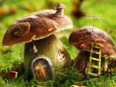 Fantasy mushroom houses