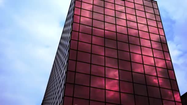 High modern building with bright reflecting changing light