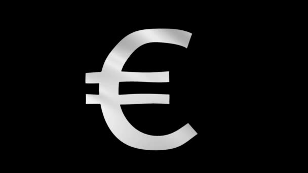 White waving Euro sign on black and green chromakey field