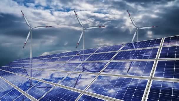 3D modely větrných mlýnů v blízkosti solárních panelů s odrazem oblohy