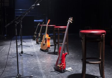 Guitar  on stage before concert