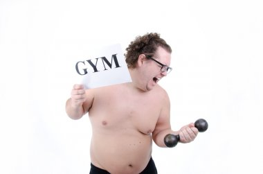 A gym and a fat guy.