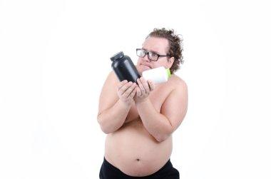 Sports nutrition. Fat guy.