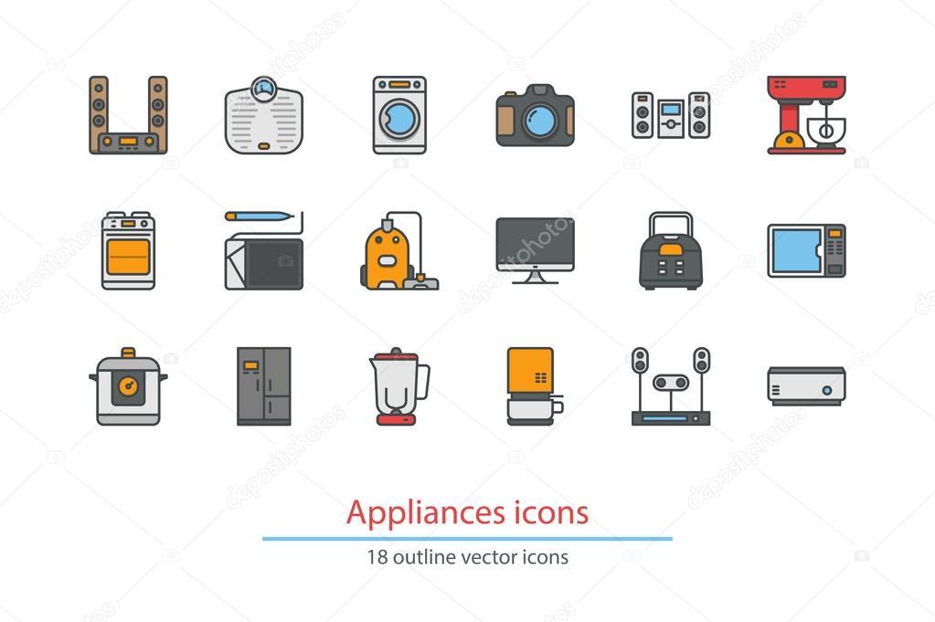 Haushaltsgeräte umreißen Symbole. Bunte. Strichzeichnungen ...