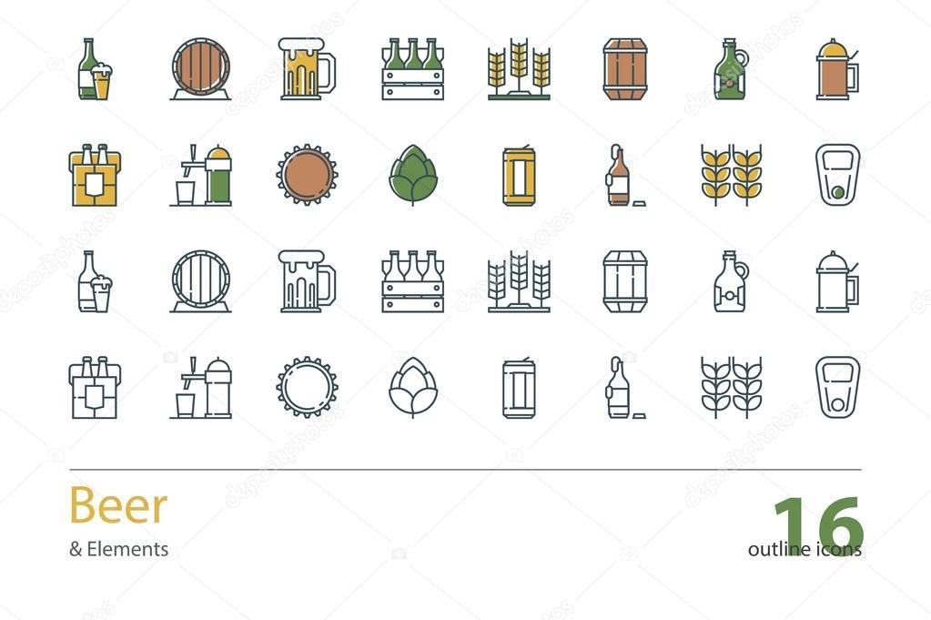 Satz von Vektor umreißen Bier Symbole. Farbe und farblos ...