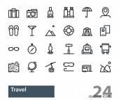 Cestování. Sada osnovy vektor moderní ikon