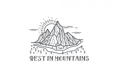 Camping emblem on mountain landscape background