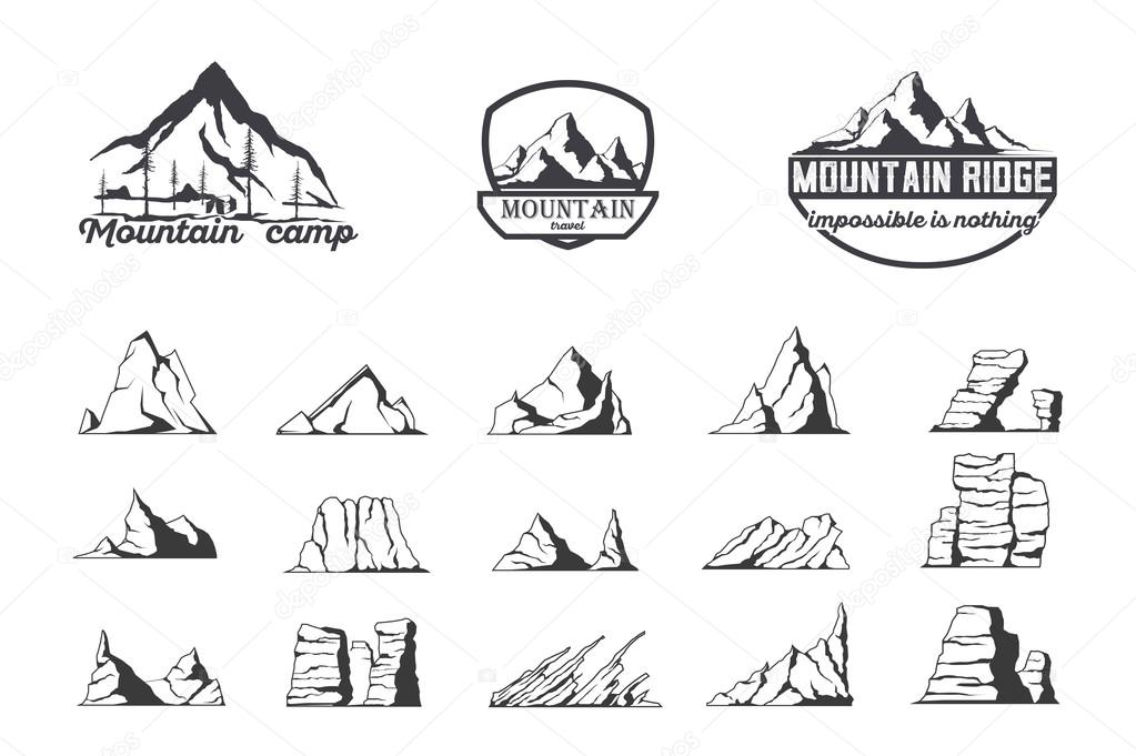 Mountain logo emblem set with type design. Stock vector.
