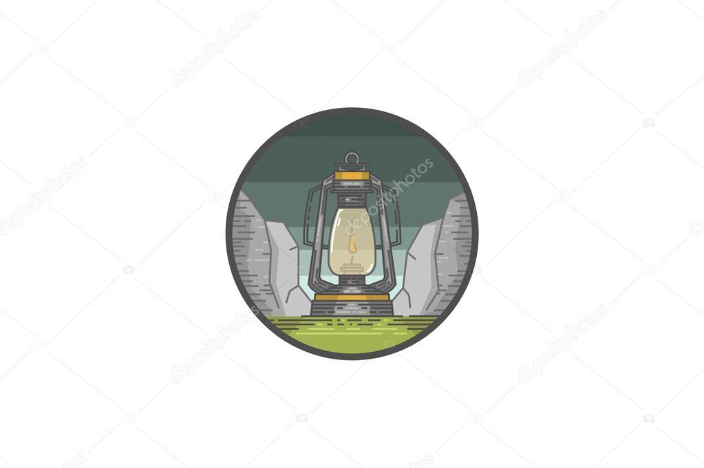 Vintage summer camp badge and outdoors logo emblem. Oil lamp.