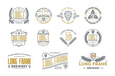 Line beer retro labels and logo templates. Stock vector.