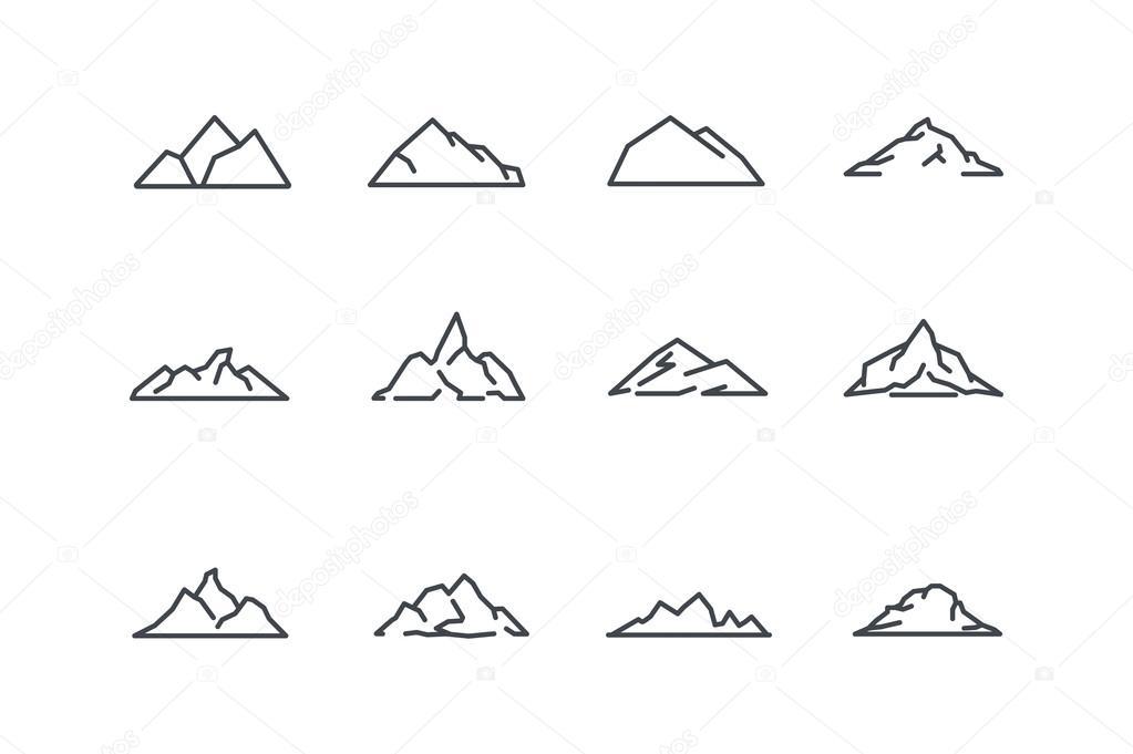 Icones De Montagne Definies Dessin Au Trait Vector Stock Image