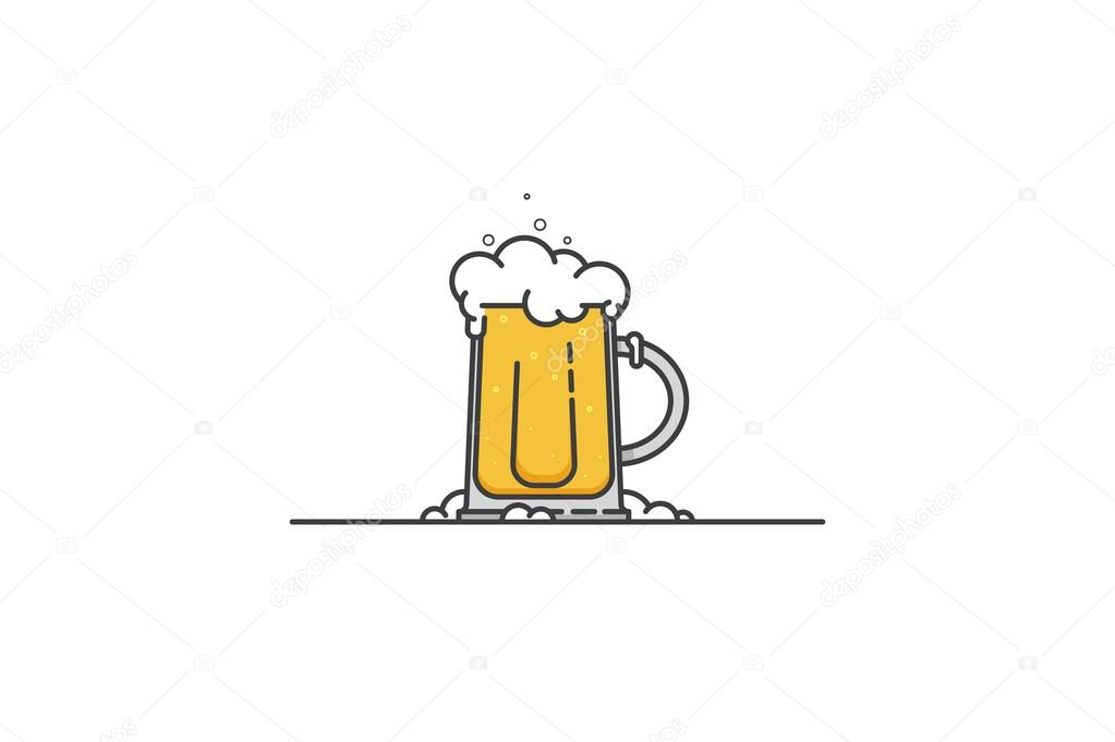 Glass of fresh beer. Line art. Stock vector.