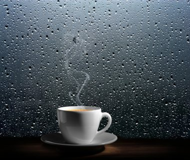 Steaming coffee cup on a rainy day window background stock vector
