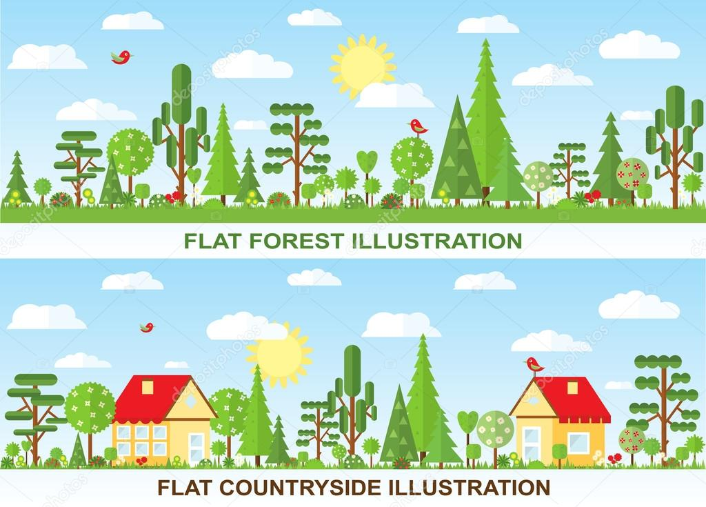 Flat vector tree and house illustration