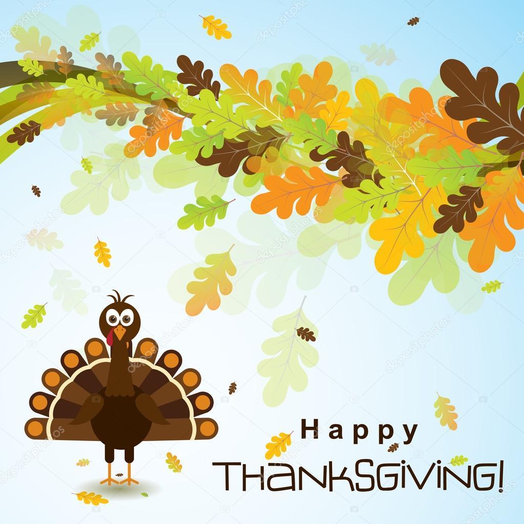 Grußkarte Vorlage mit einer happy Thanksgiving-Truthahn, Vektor ...
