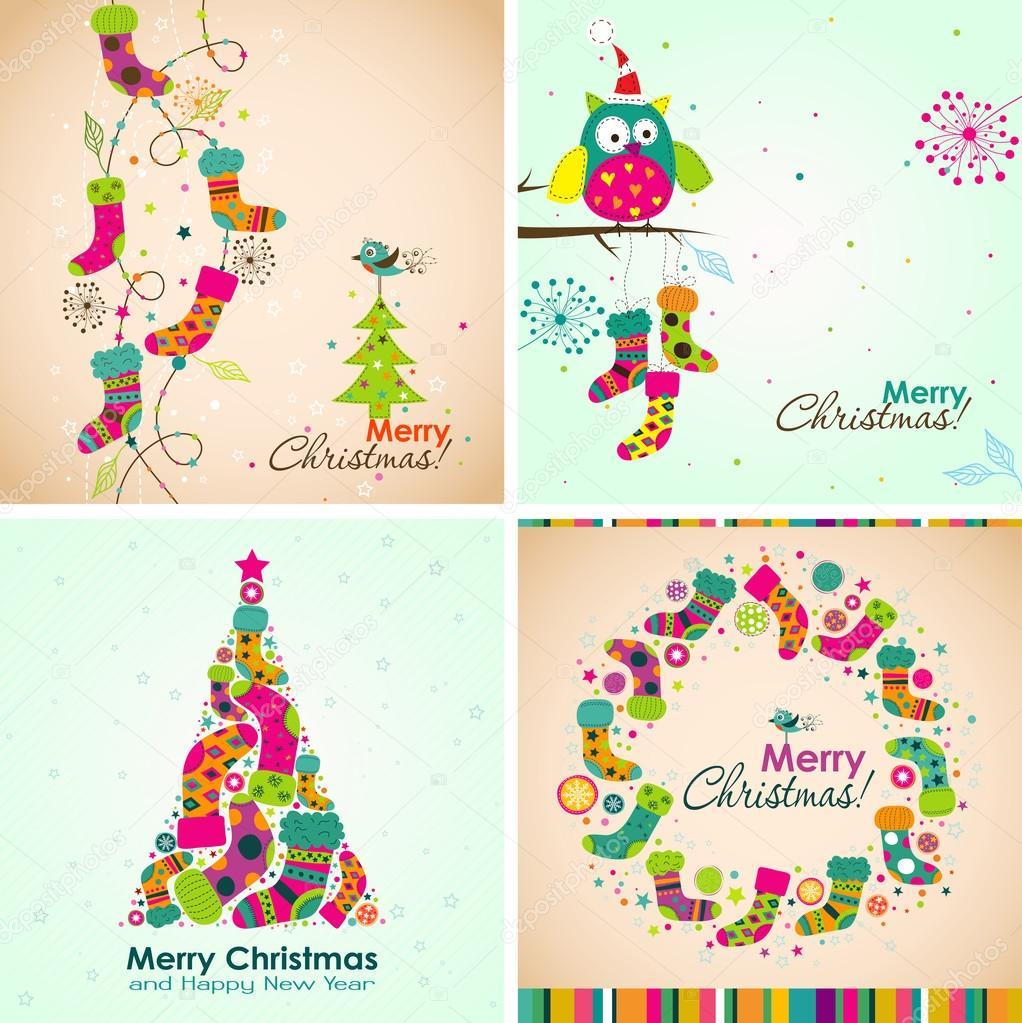 Plantilla Navidad tarjeta de felicitación, arranque, árbol, vector ...
