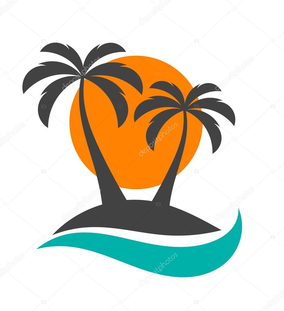 Palm trees, sun and ocean