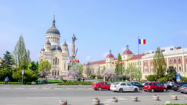 Orthodox Cathedral and Avram Iancu Statue in Avram Iancu Square in Cluj-Napoca