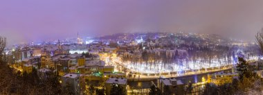 Aerial view of Cluj Napoca in the Transylvania region of Romania on a cold winter night