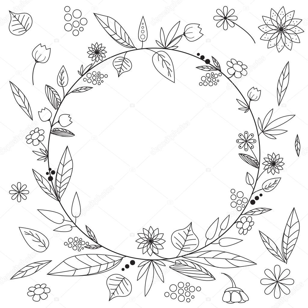 Imágenes: marco de flores para colorear | marco con flor — Vector