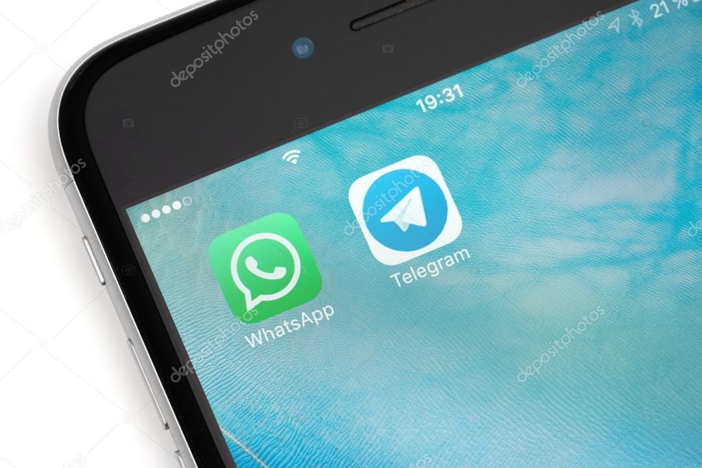 WhatsApp and Telegram logotype on the screen – Stock