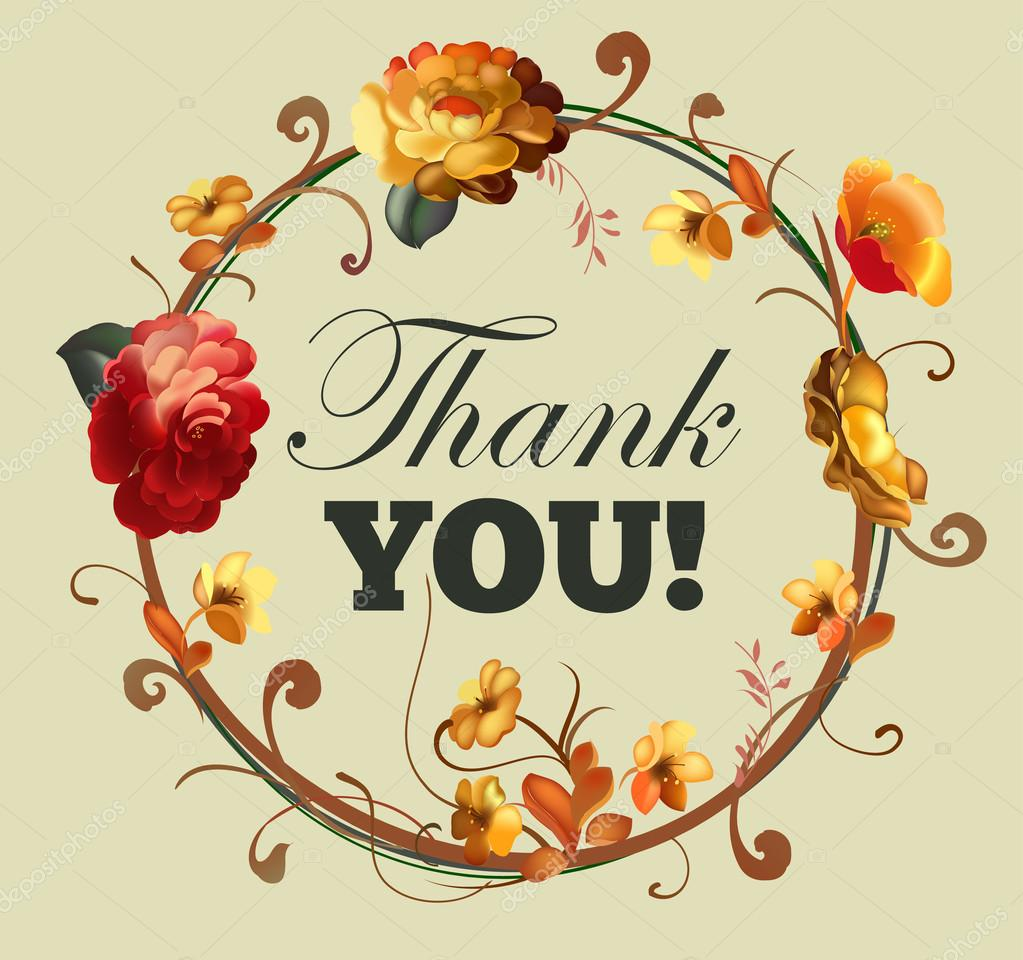 Beautiful Flower Thank You: Thank You Card With Beautiful Vintage Flowers