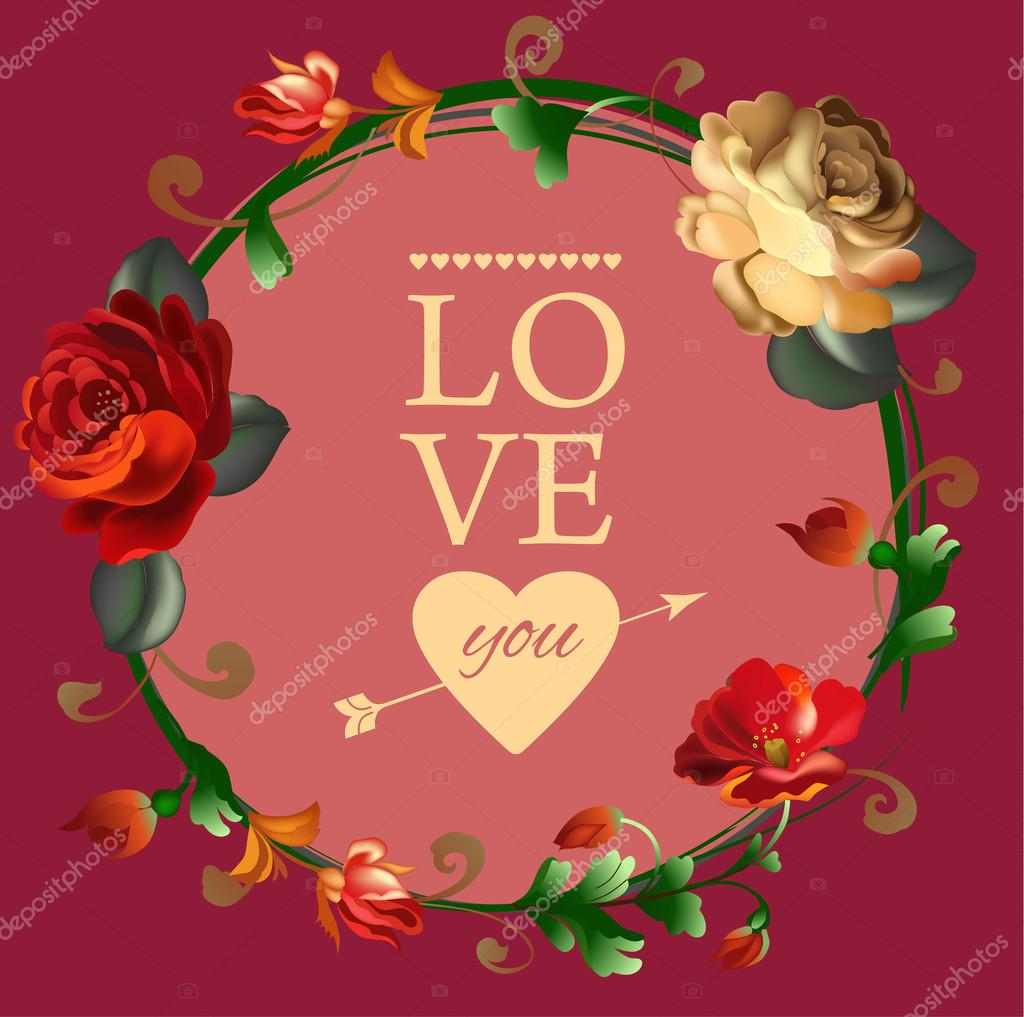 Love You Card With Beautiful Vintage Flowers Stockvector
