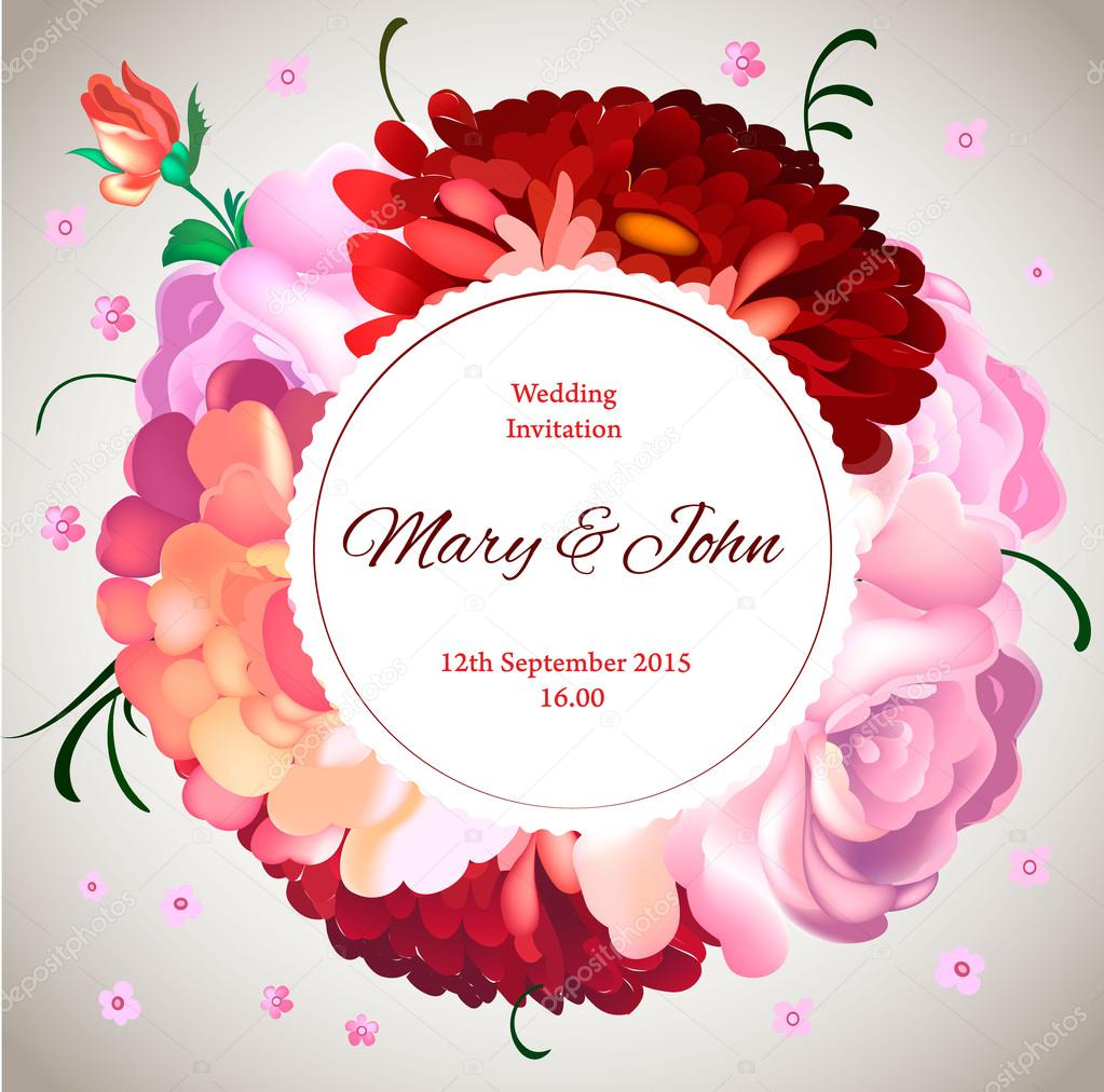 Wedding invitation. Vintage card with garden flowers. — Stock Vector ...