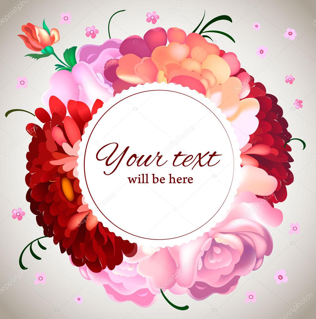 Wedding invitation. Vintage card with garden flowers. — Stock Vector ...