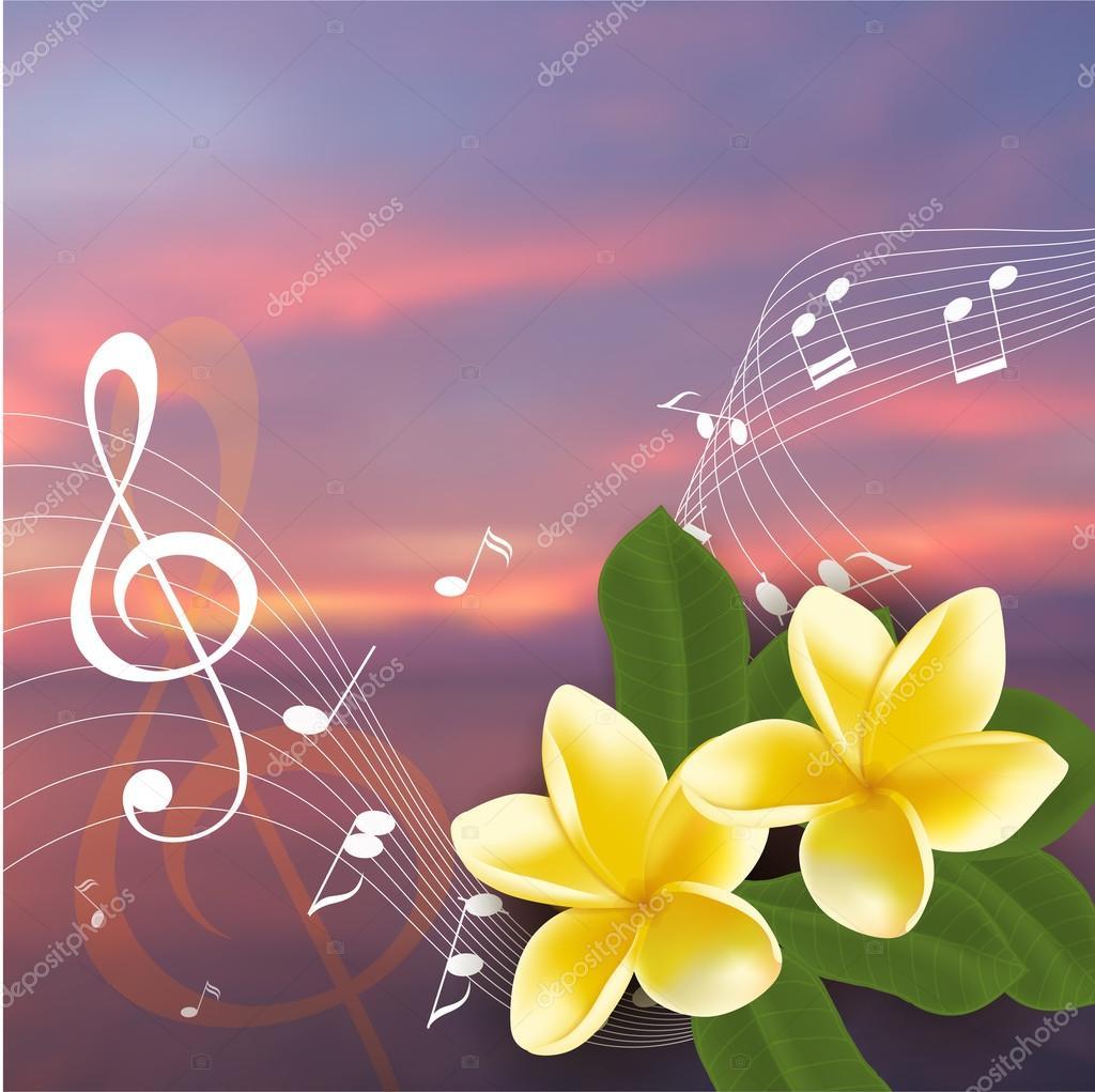 Verano música partido plantilla realista frangipani, notas y clave ...