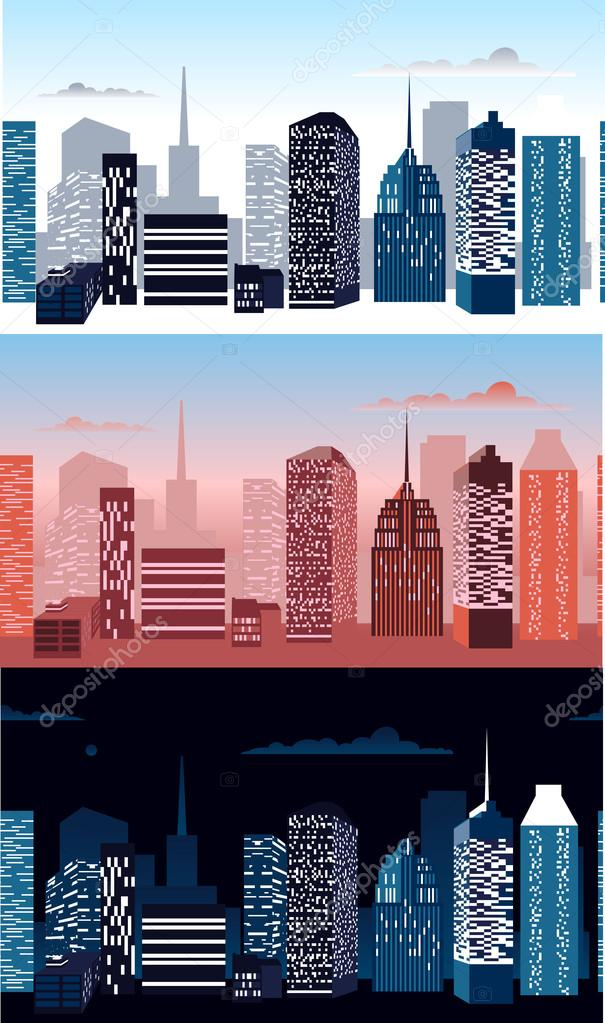 Set of city landscapes.