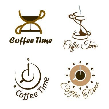 Set of coffee time logo design.