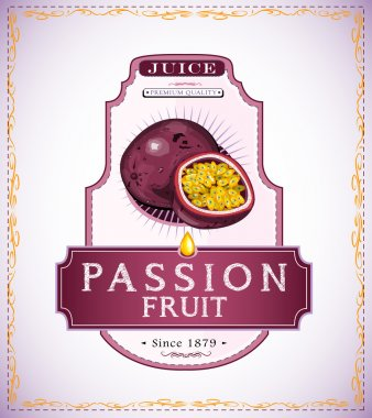 Ripe passion fruit product label