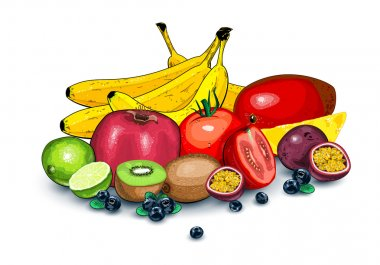 Lots of ripe exotic fruits together