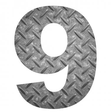 Number 9 with metal photo background