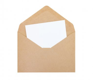 Open envelope with white paper