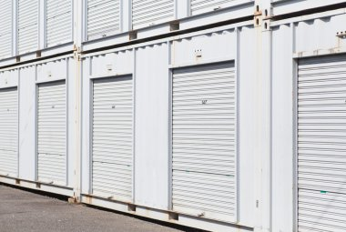 Exterior of white storage unit or small warehouse for rental stock vector