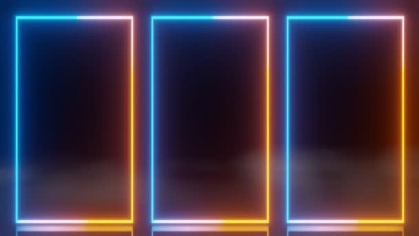 abstraktní technologie LED obrazovky modrá oranžová zářící neonová čára animace mlha pozadí 3D vykreslování